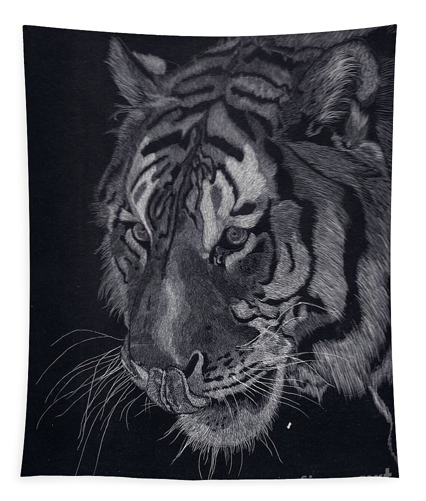 Tiger Tapestry featuring the drawing Moquito El Tigre by Yenni Harrison