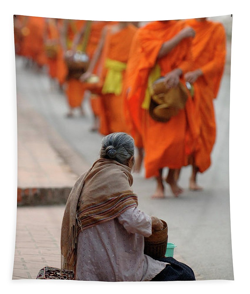 Collecting Alms In Luang Prabang Tapestry featuring the photograph Morning Alms by Bob Christopher