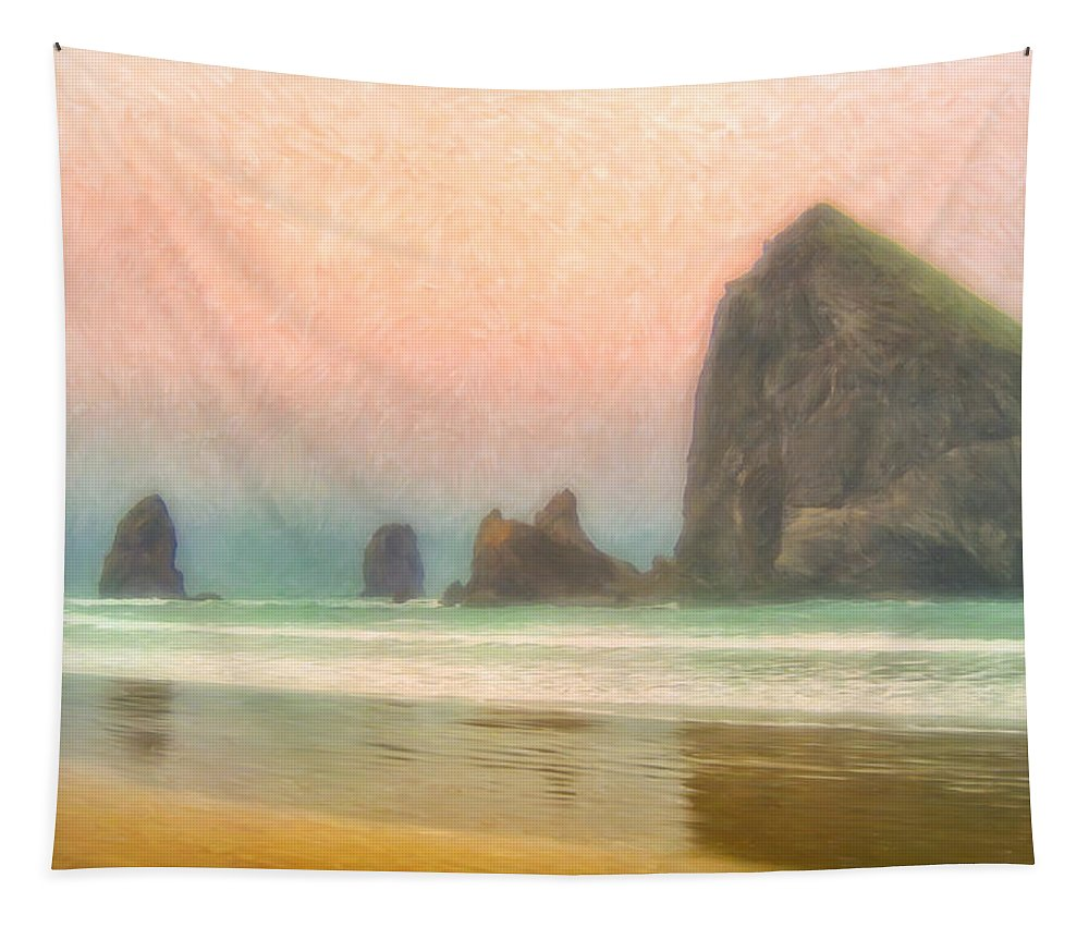 Morning Tapestry featuring the painting Morning Mist At Haystack Rock by Dominic Piperata