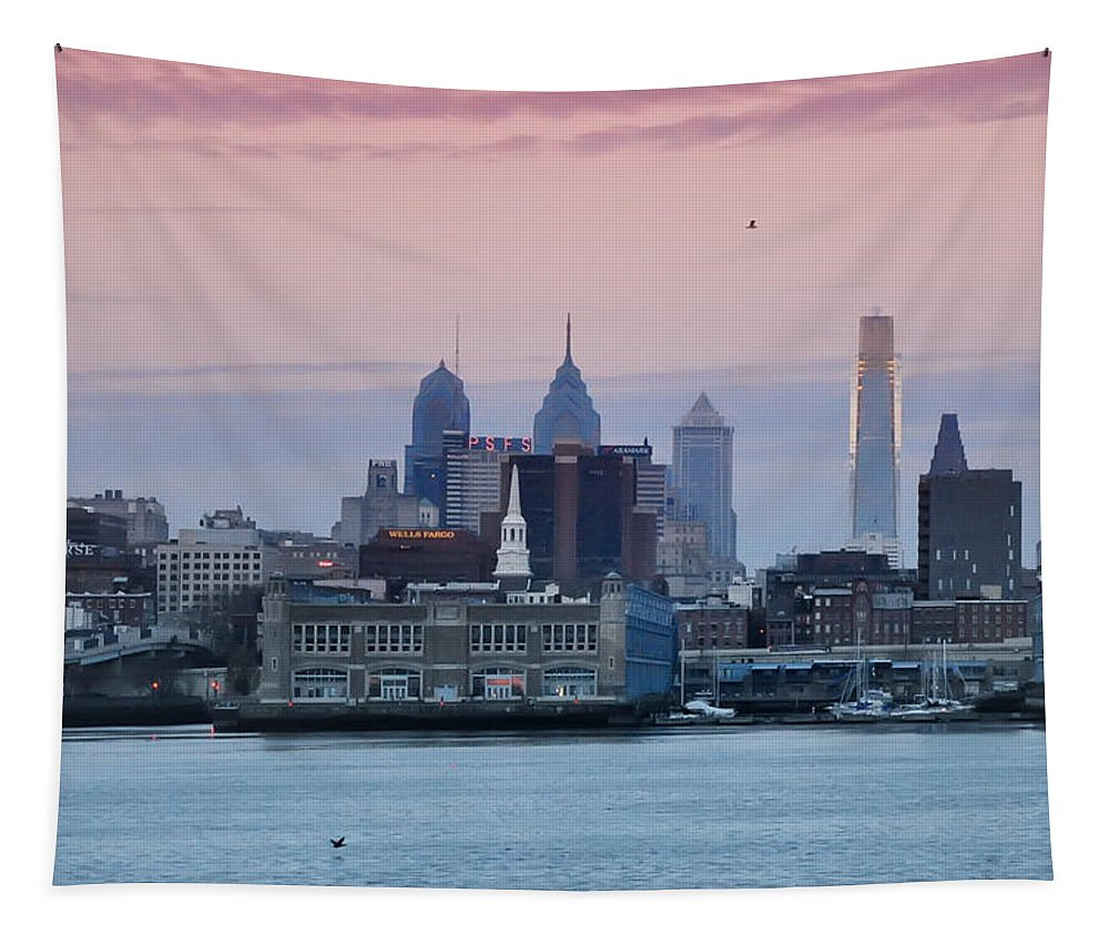 Morning Tapestry featuring the photograph Morning On The Delaware River by Bill Cannon