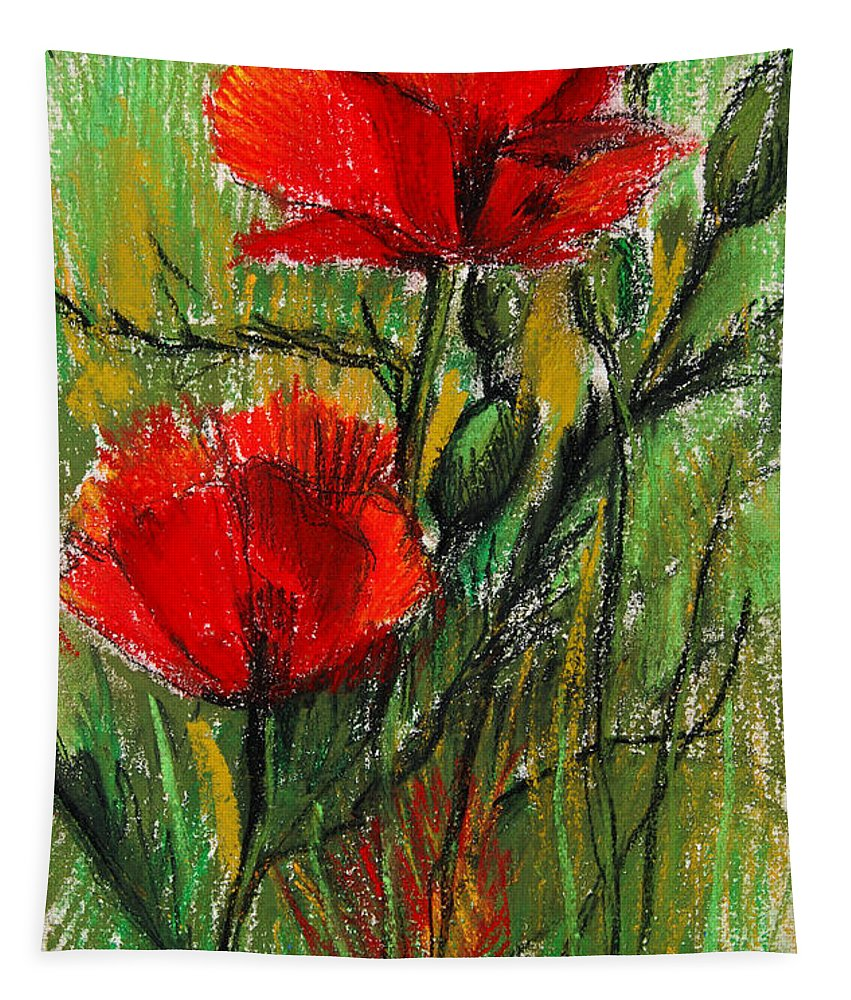 Morning Poppies Tapestry featuring the pastel Morning Poppies by Mona Edulesco