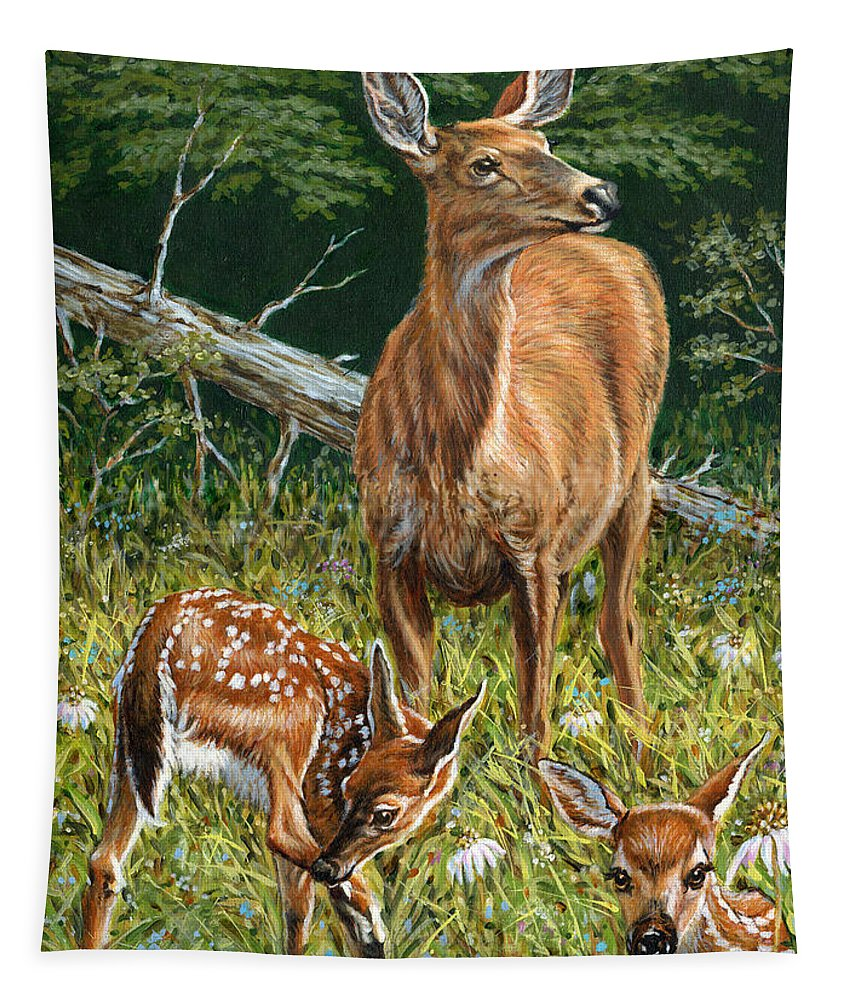 White-tailed Deer Tapestry featuring the painting Mothers Worry by Richard De Wolfe