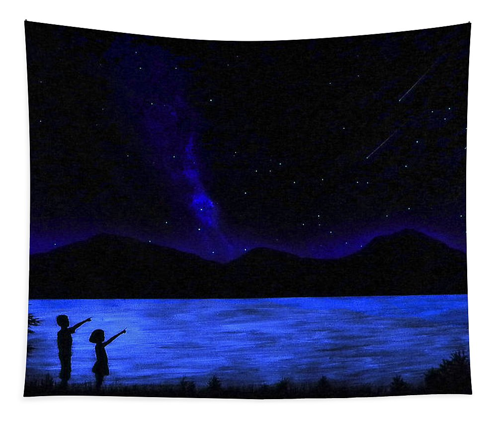 Glow In The Dark Tapestry featuring the painting Mountain Lake Glow In The Dark Mural by Frank Wilson
