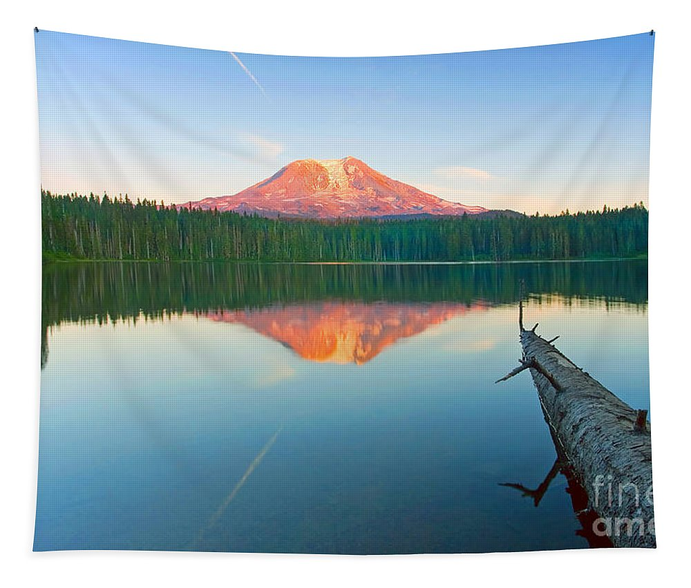 Mt. Adams Tapestry featuring the photograph Mt. Adams Alpenglow by Mike Dawson