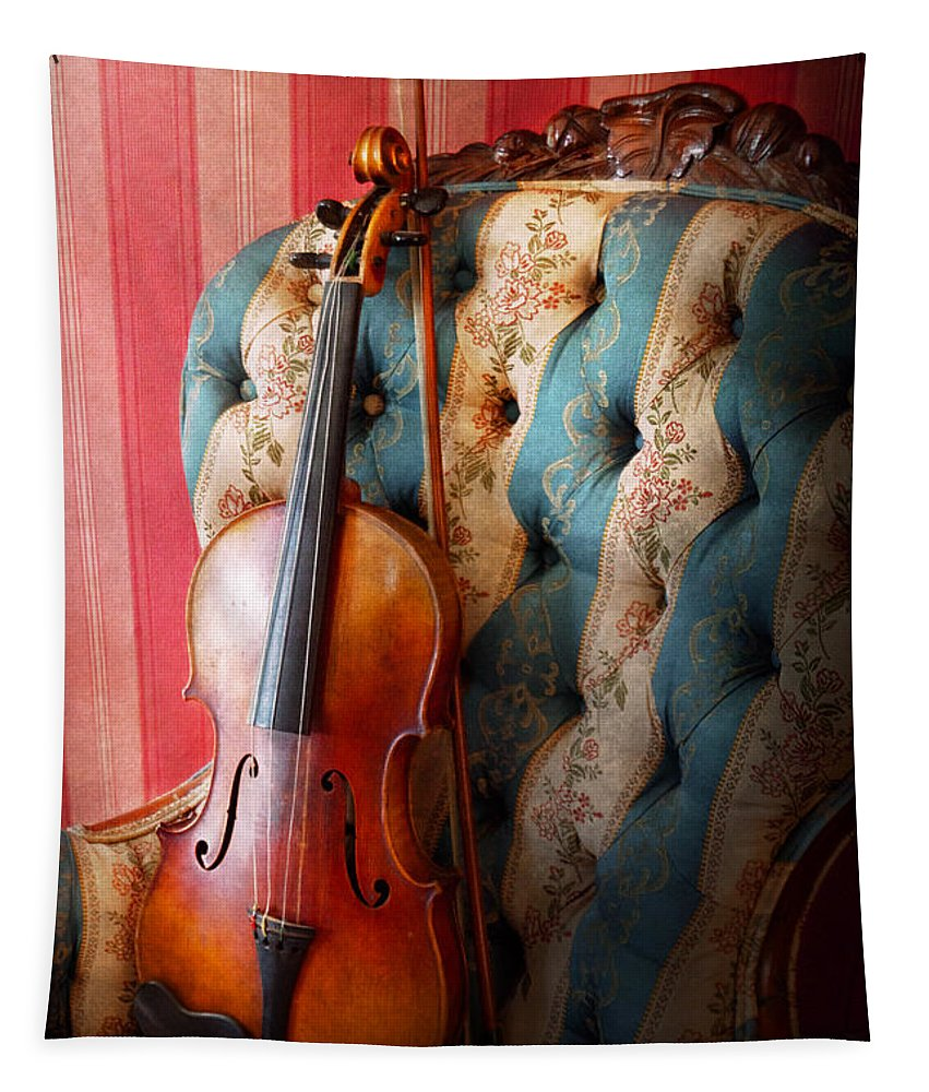 Violin Tapestry featuring the photograph Music - Violin - Musical Elegance by Mike Savad