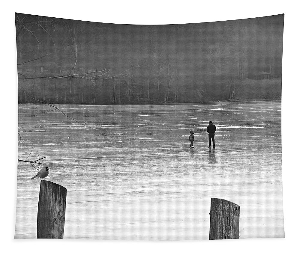 Ice Tapestry featuring the photograph My First Walk On Water Bw by David Dehner