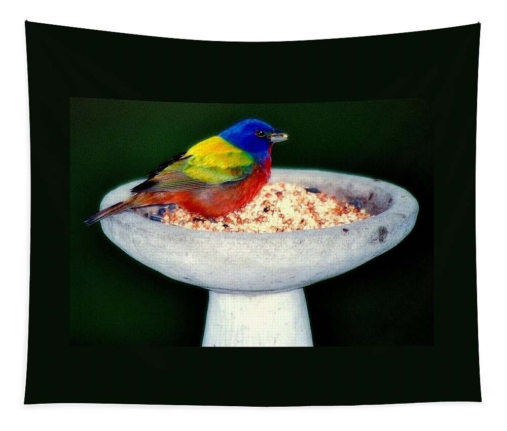 Birds Tapestry featuring the photograph My Painted Bunting by Karen Wiles