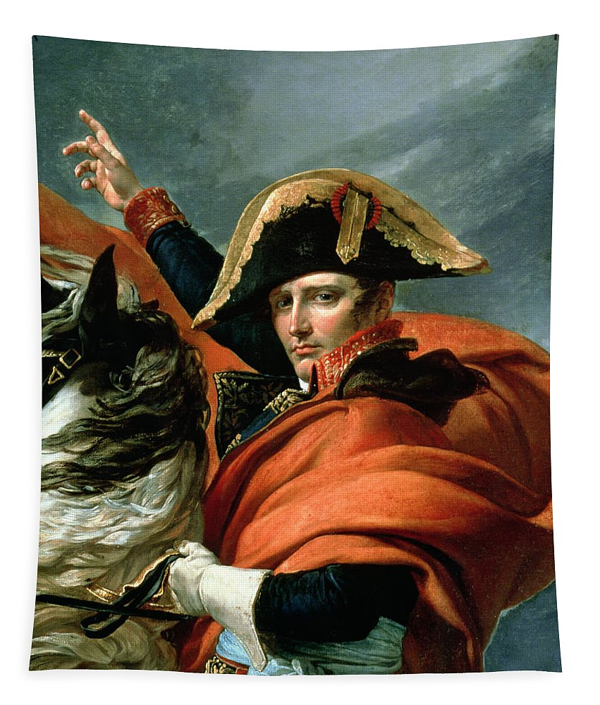 Equestrian; Portrait; Male; Rearing Horse; Grand St; Bernard; Napoleonic; Emperor; Bonaparte Tapestry featuring the painting Napoleon Crossing The Alps On 20th May 1800 by Jacques Louis David