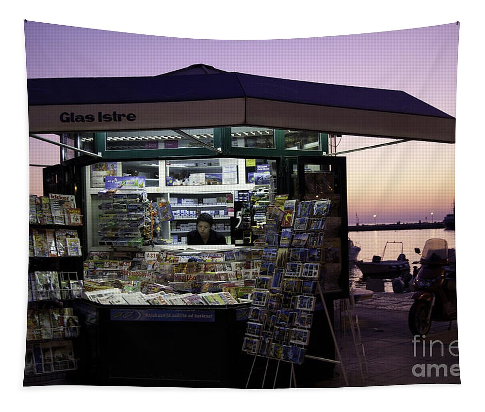 News Tapestry featuring the photograph Newsstand In Croatia by Madeline Ellis