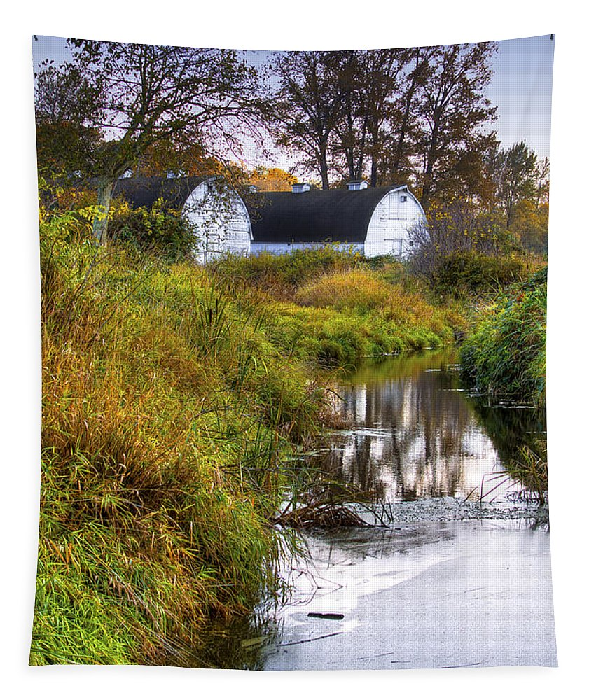 Nisqually Tapestry featuring the photograph Nisqually Wildlife Refuge P21 The Twin Barns by David Patterson