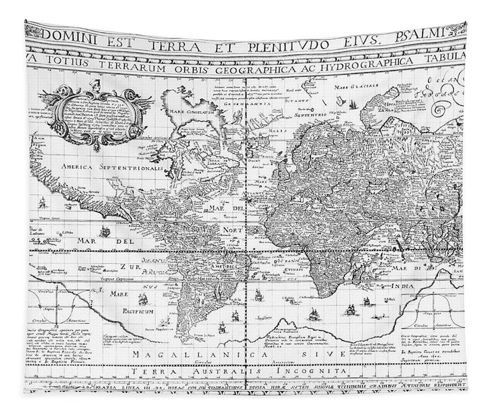 Maps Tapestry featuring the drawing Nova Totius Terrarum Orbis Geographica Ac Hydrographica Tabula by Dutch School