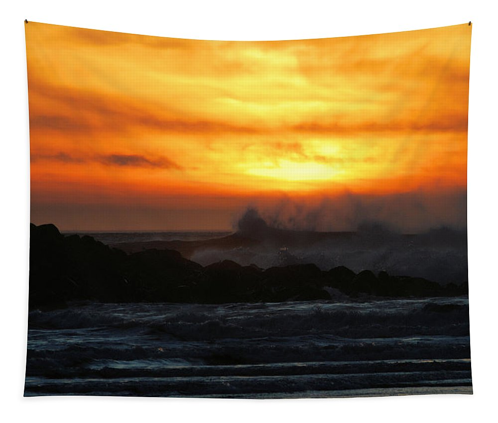 Sunset Tapestry featuring the photograph Ocean Shores Sunset by Michael Merry