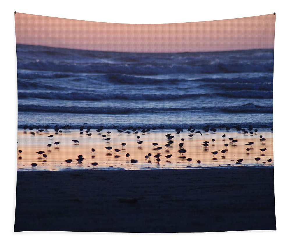 Sunset Tapestry featuring the photograph Ocean Sunset by Michael Merry