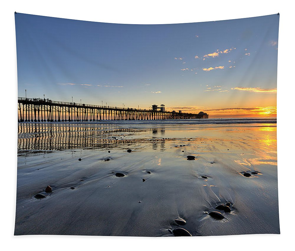 California Tapestry featuring the photograph Oceanside Pier by Peter Tellone