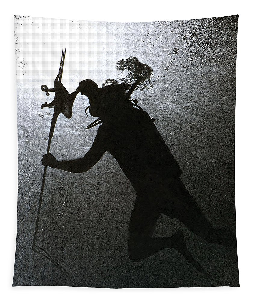 Diver Silhouette Tapestry featuring the photograph Octopus And Diver by Bill Owen