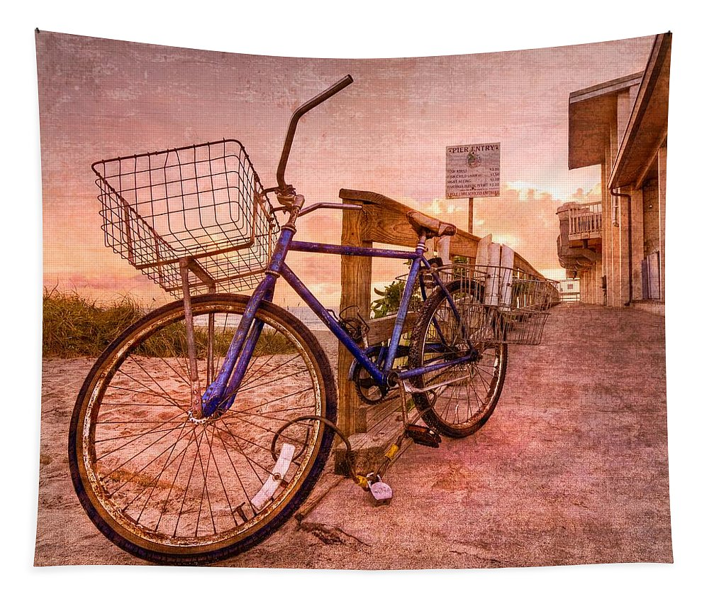 Clouds Tapestry featuring the photograph Ol' Bike by Debra and Dave Vanderlaan