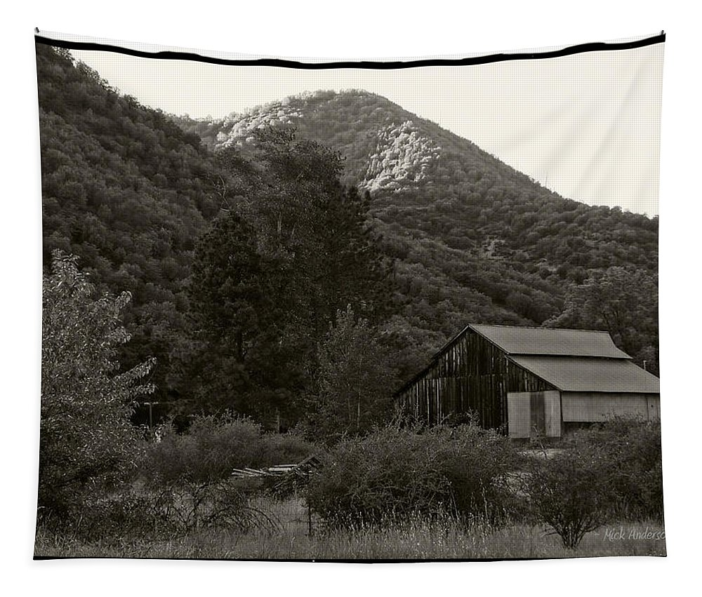 Old Tapestry featuring the photograph Old Barn In Black And White by Mick Anderson
