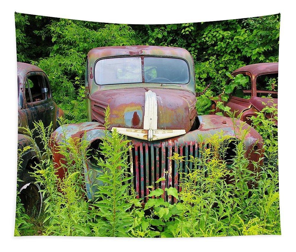 Old Cars Tapestry featuring the photograph Old Car Grave Yard by Sherman Perry