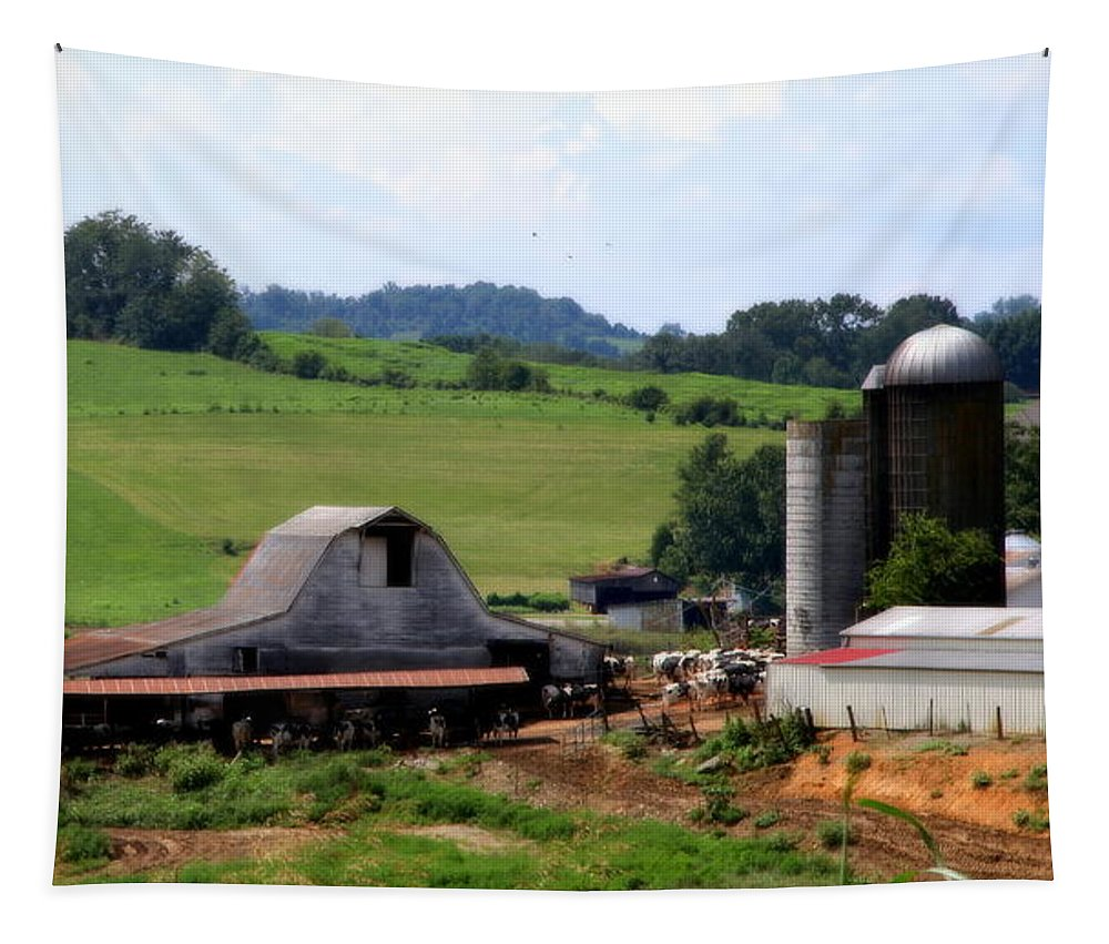 Barns Tapestry featuring the photograph Old Dairy Barn by Karen Wiles