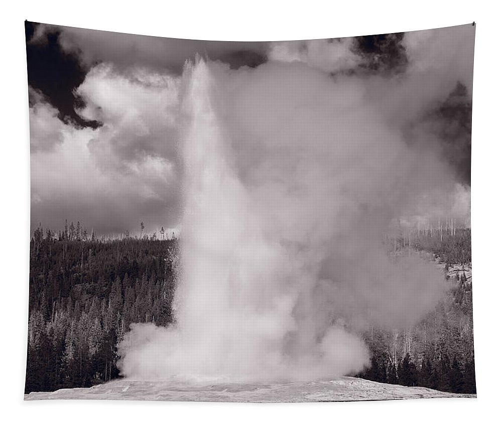 Old Tapestry featuring the photograph Old Faithful Yellowstone Bw by Steve Gadomski