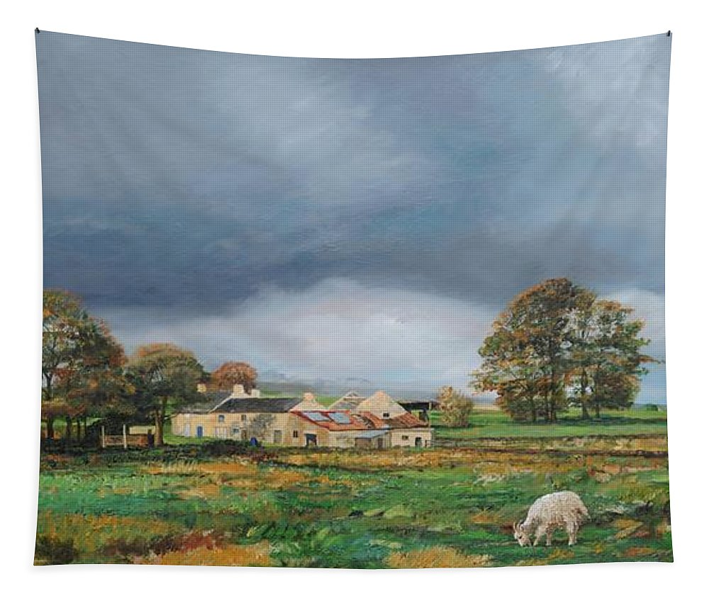 Peak District; Countryside; English Landscape Tapestry featuring the painting Old Farm - Monyash - Derbyshire by Trevor Neal