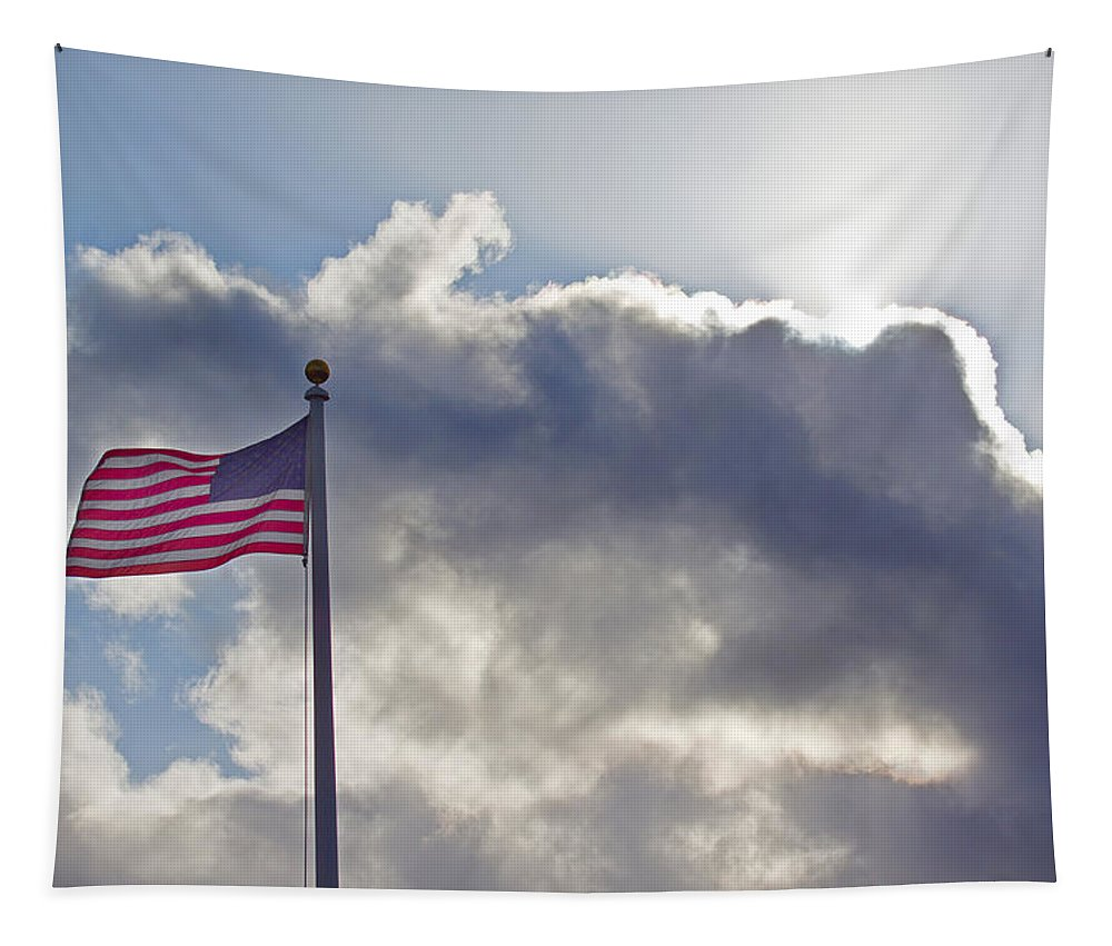 Old Glory Tapestry featuring the photograph Old Glory In The Wind by Mick Anderson