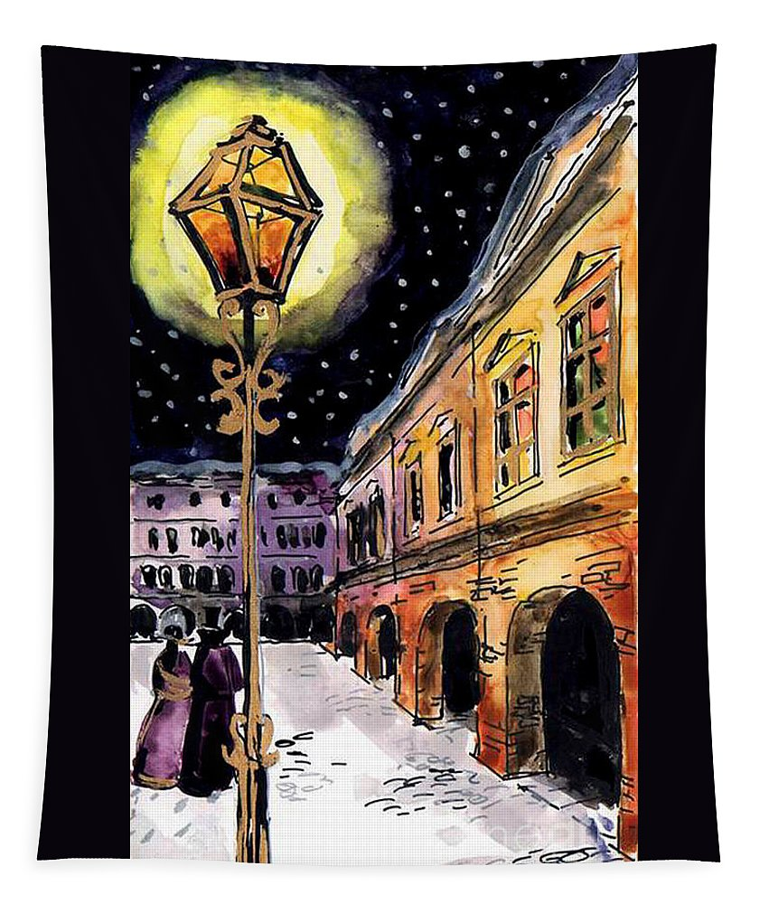 Old Time Evening Tapestry featuring the painting Old Time Evening by Mona Edulesco