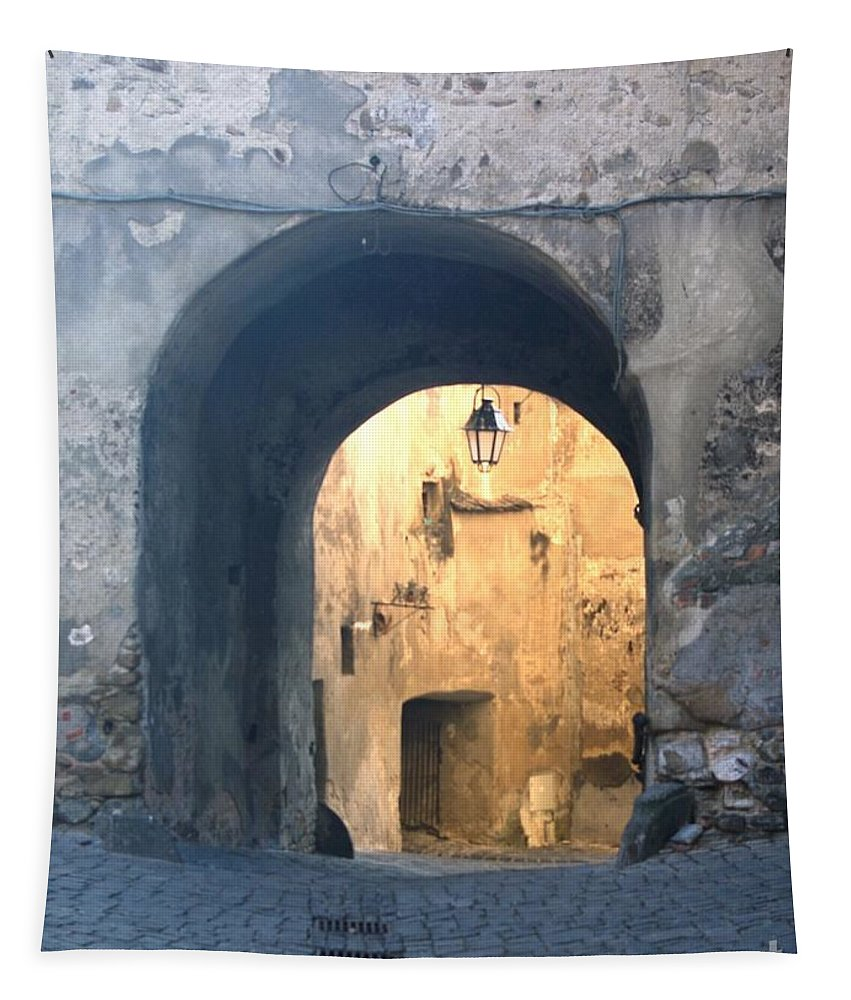 Sighisoara Tapestry featuring the photograph Old town gate 1 by Amalia Suruceanu