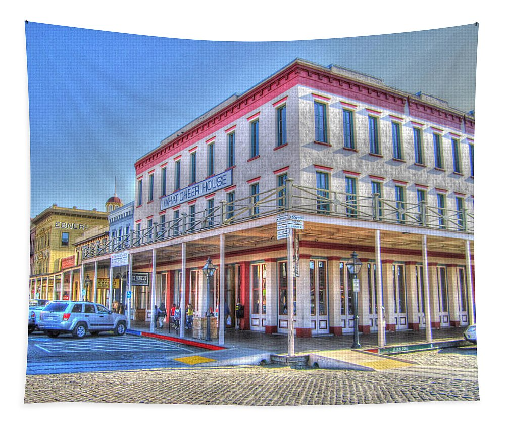 Street Corner Tapestry featuring the photograph Old Towne Sacramento by Barry Jones