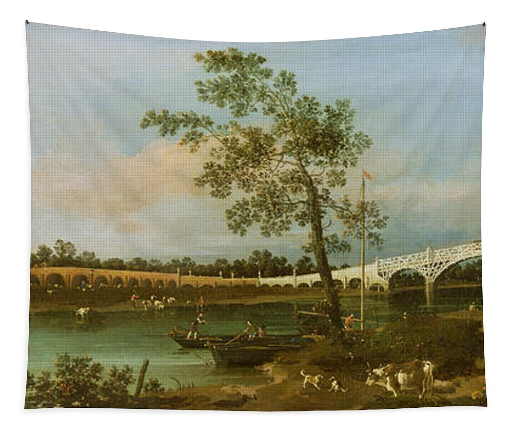 Xyc111900 Tapestry featuring the painting Old Walton's Bridge by Giovanni Antonio Canaletto