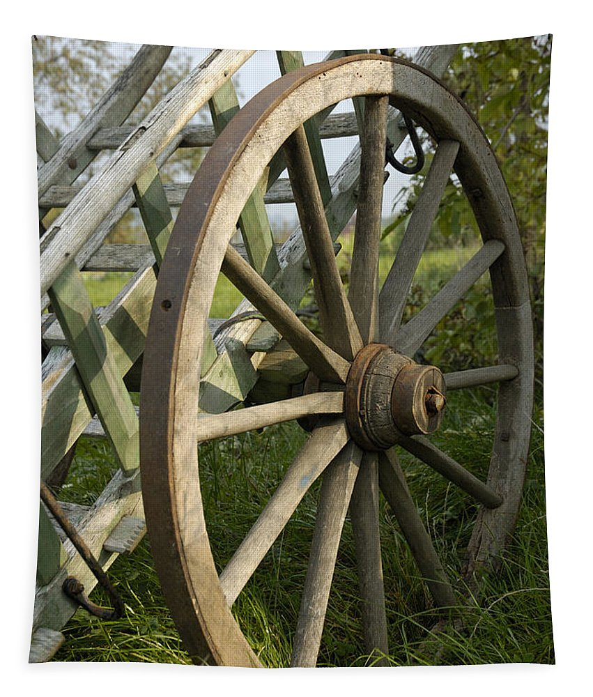 Cartwheel Tapestry featuring the photograph Old Wooden Cartwheel - Nostalgia by Matthias Hauser