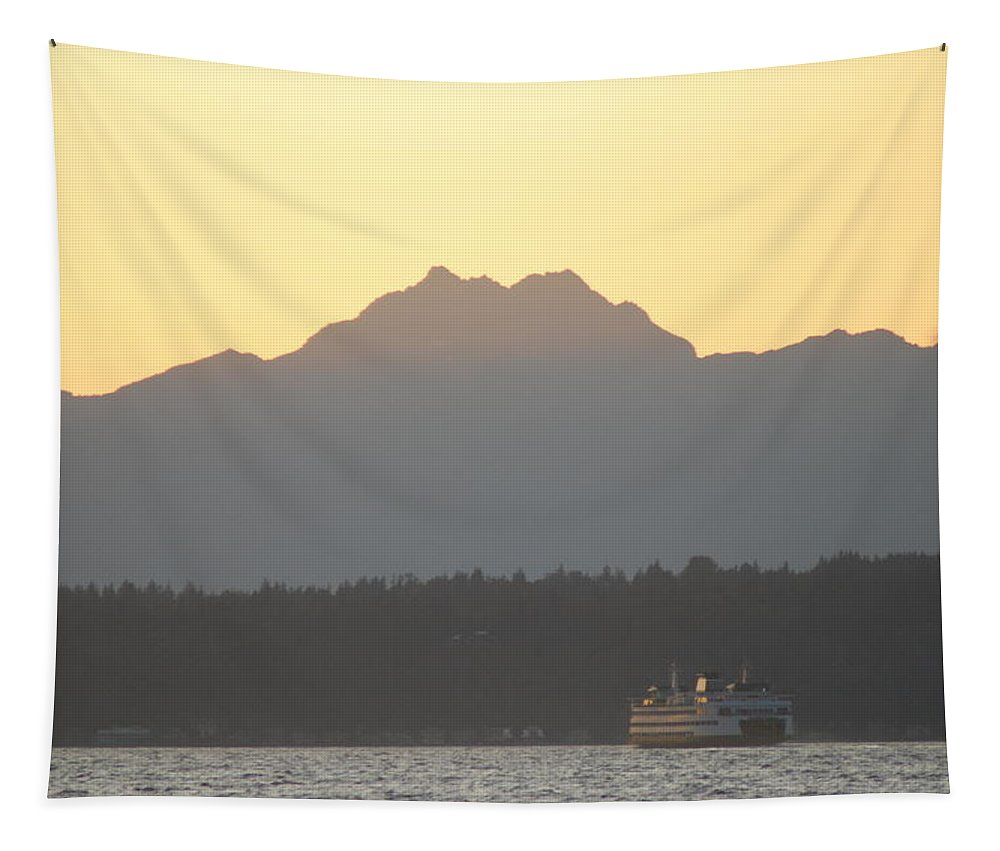 Sunset Tapestry featuring the photograph Olympic Mountain Sunset On Puget Sound by Michael Merry