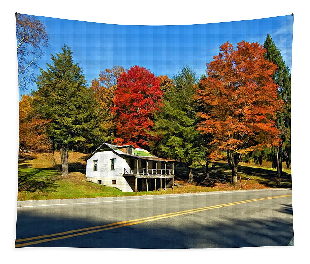 West Virginia Tapestry featuring the photograph On A West Virginia Road Painted by Steve Harrington