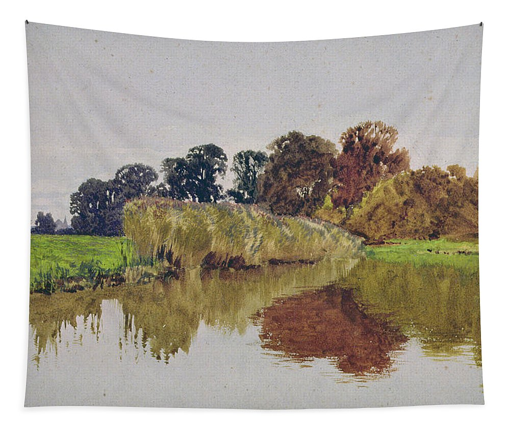 Meadow; River; Landscape Tapestry featuring the painting On The Arun Stoke Sussex by George Vicat Cole