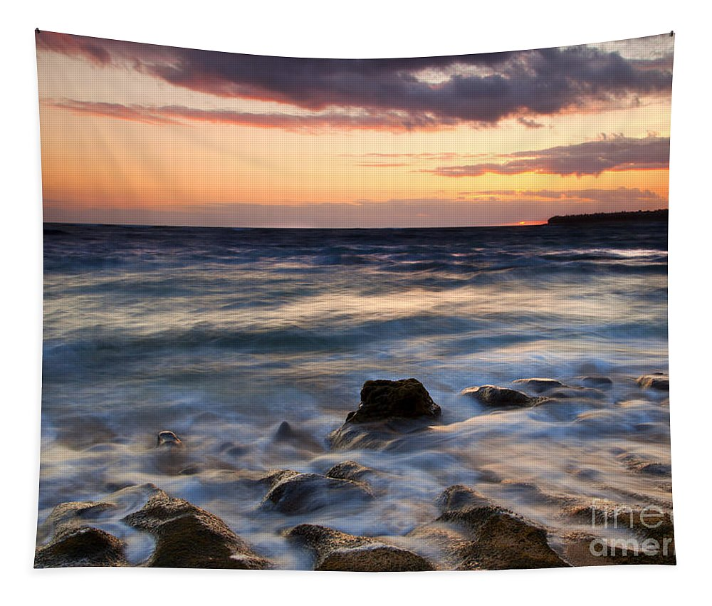 Lumahai Beach Tapestry featuring the photograph On The Horizon by Mike Dawson