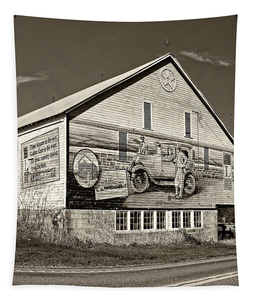 Lincoln Highway Tapestry featuring the photograph On The Lincoln Highway Sepia by Steve Harrington