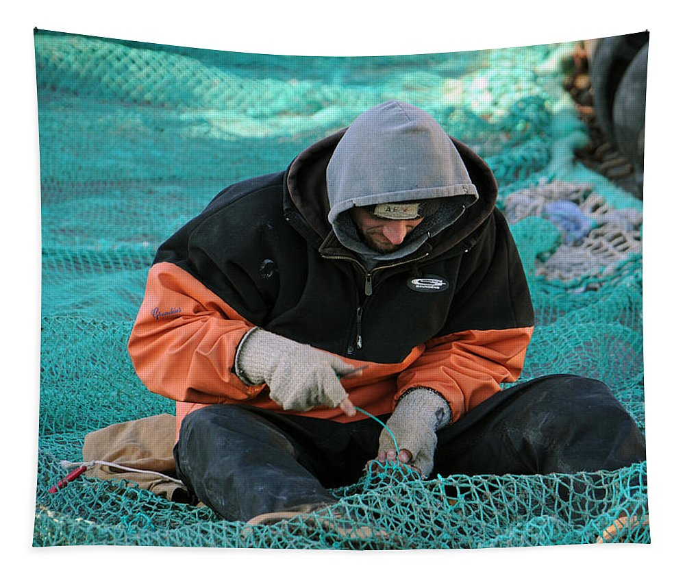 Fisherman Tapestry featuring the photograph On The Mend by Mike Martin