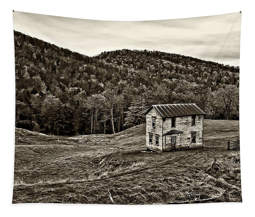 West Virginia Tapestry featuring the photograph Once Upon A Mountainside Sepia by Steve Harrington