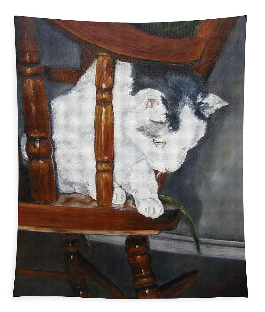 Cat Tapestry featuring the painting Oops by Lori Brackett