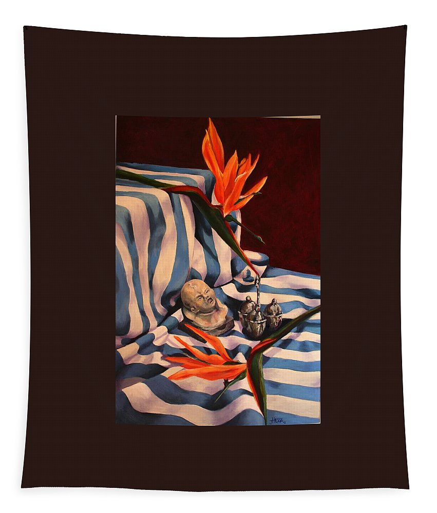 Still Life Tapestry featuring the painting Orange Flowers And Blue Cloth by Jolante Hesse