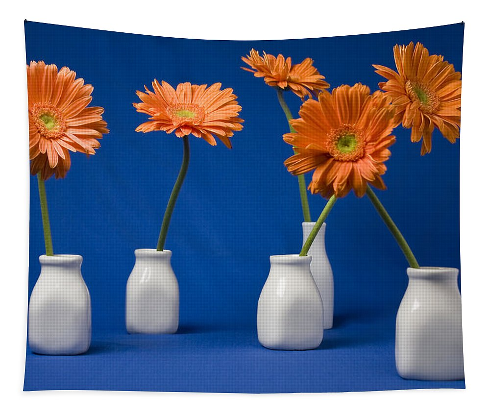 Gerbera Tapestry featuring the photograph Orange Gerberas Against Blue by VJ Lair