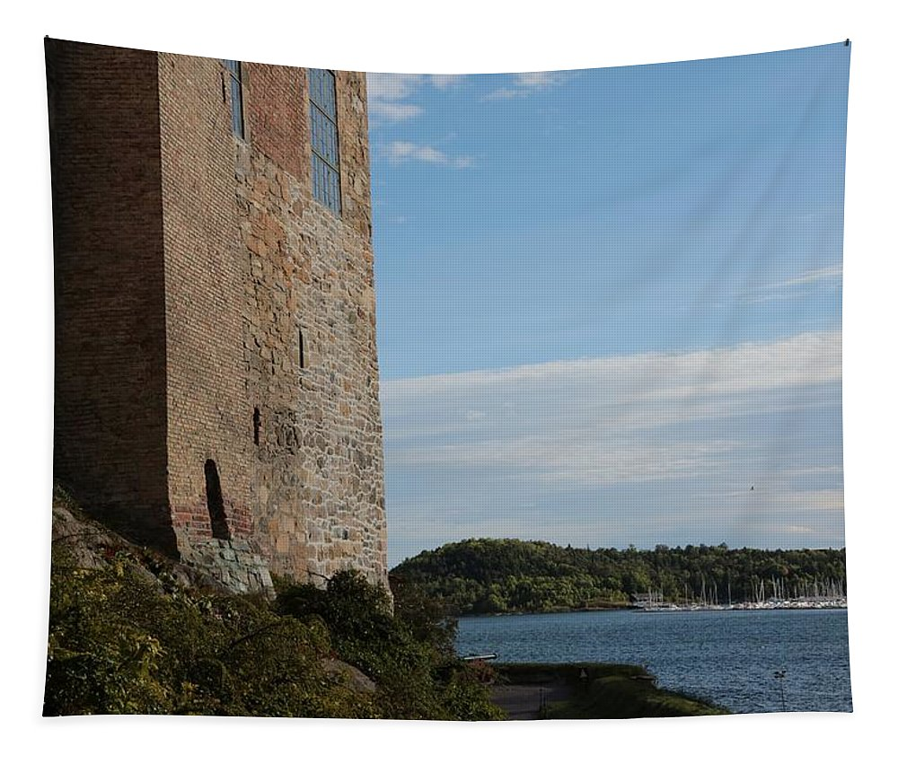 Oslo Tapestry featuring the photograph Oslo Castle And Harbor by Carol Groenen
