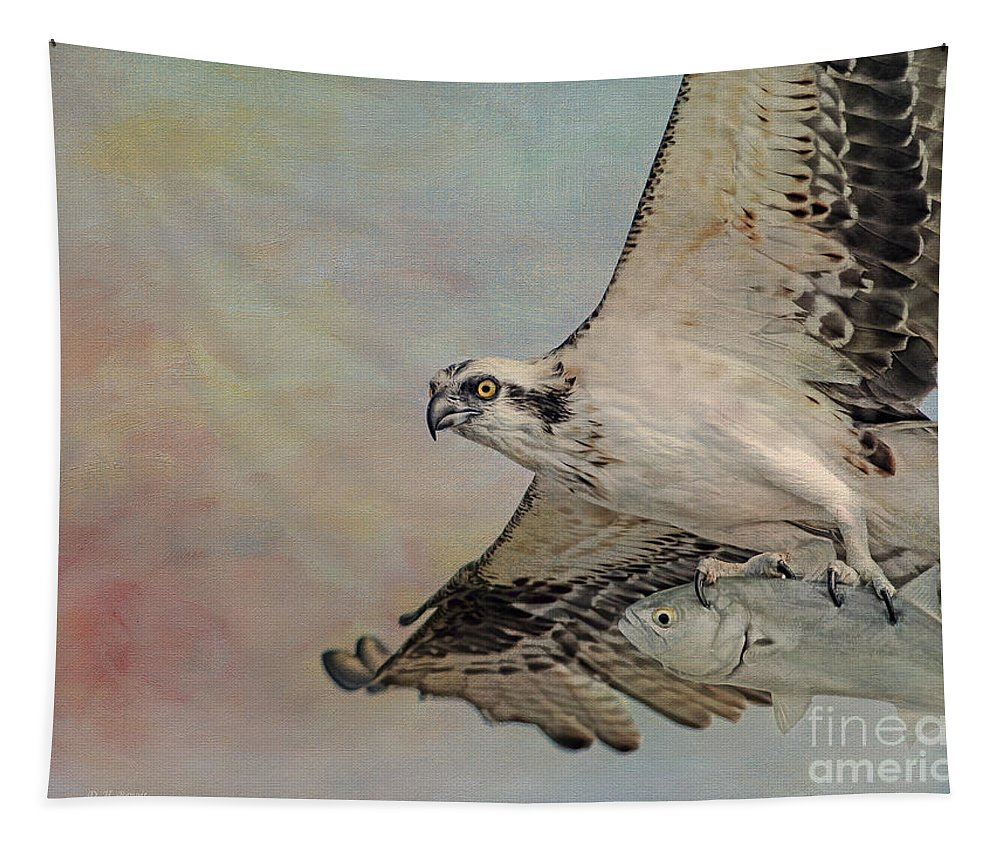Osprey Tapestry featuring the photograph Osprey And Fish by Deborah Benoit