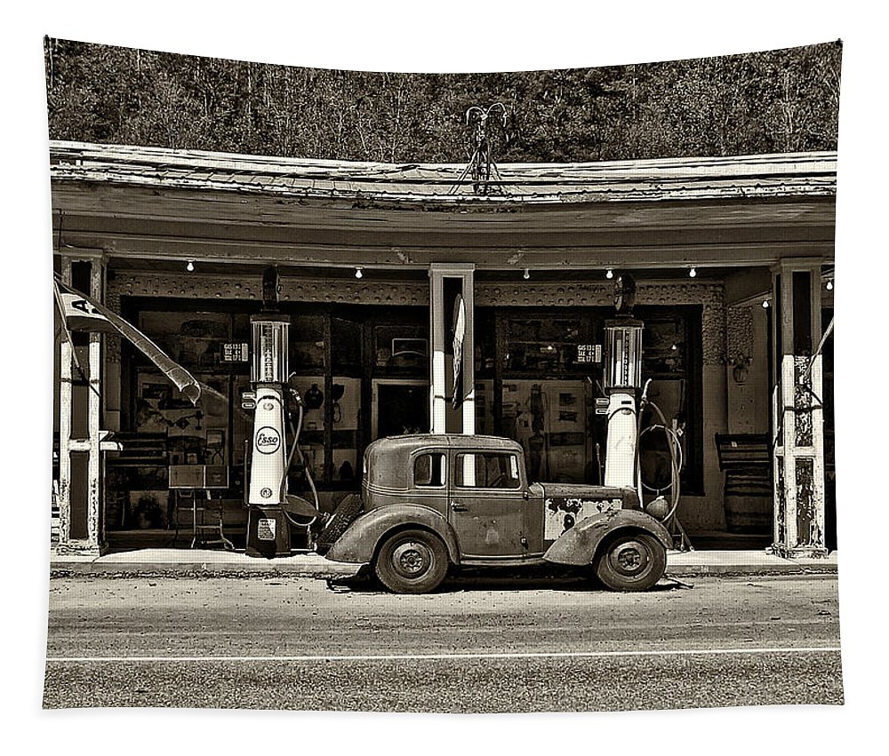 Bantam Tapestry featuring the photograph Out Of The Past Sepia by Steve Harrington