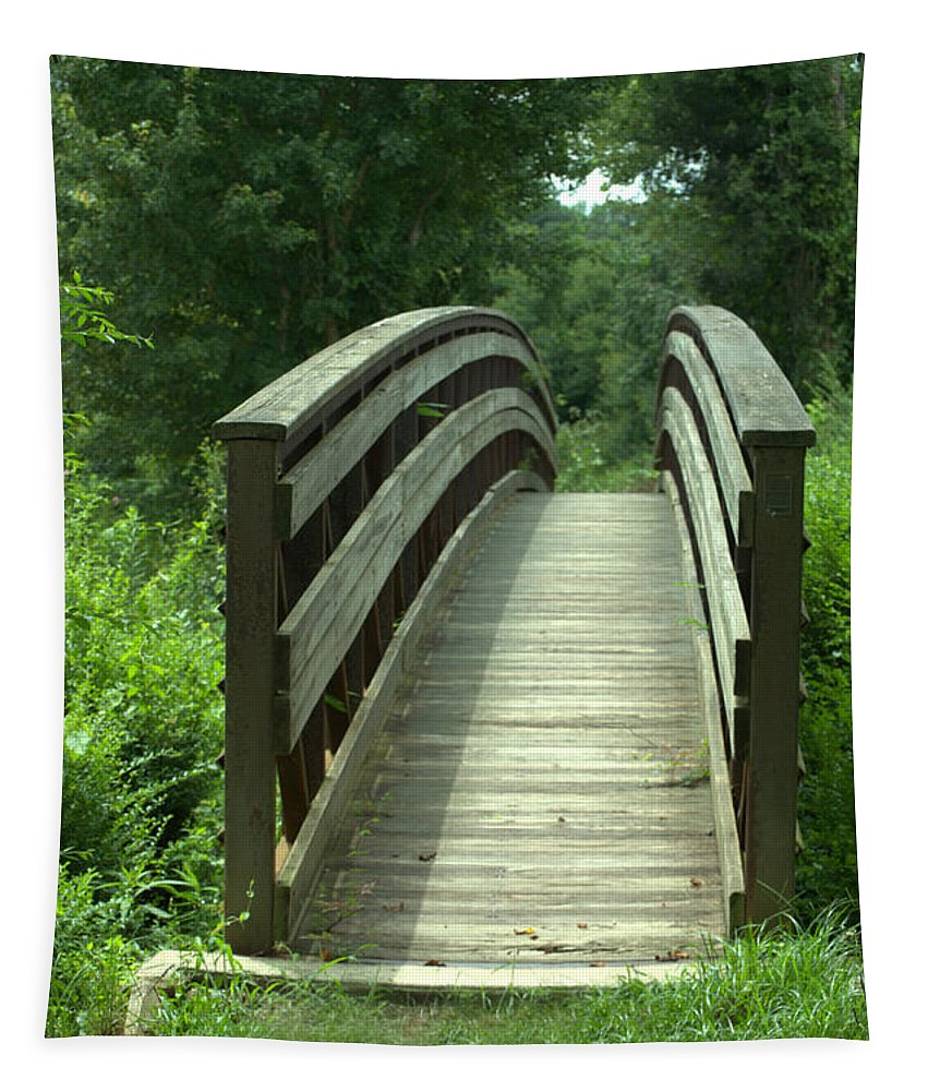 Bridge Tapestry featuring the photograph Over The Bridge by Donna Brown