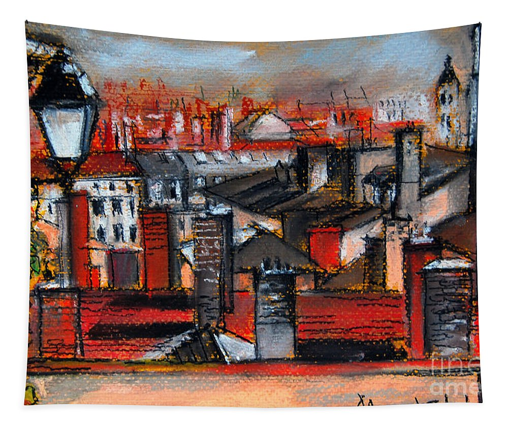Mona Edulescu Tapestry featuring the pastel Over The Roofs by Mona Edulesco