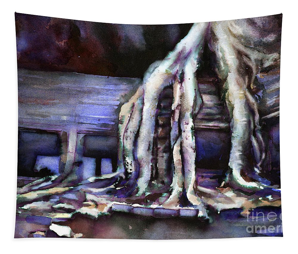 Alvaro Castagnet Tapestry featuring the painting Overgrown Ruins- Cambodia by Ryan Fox