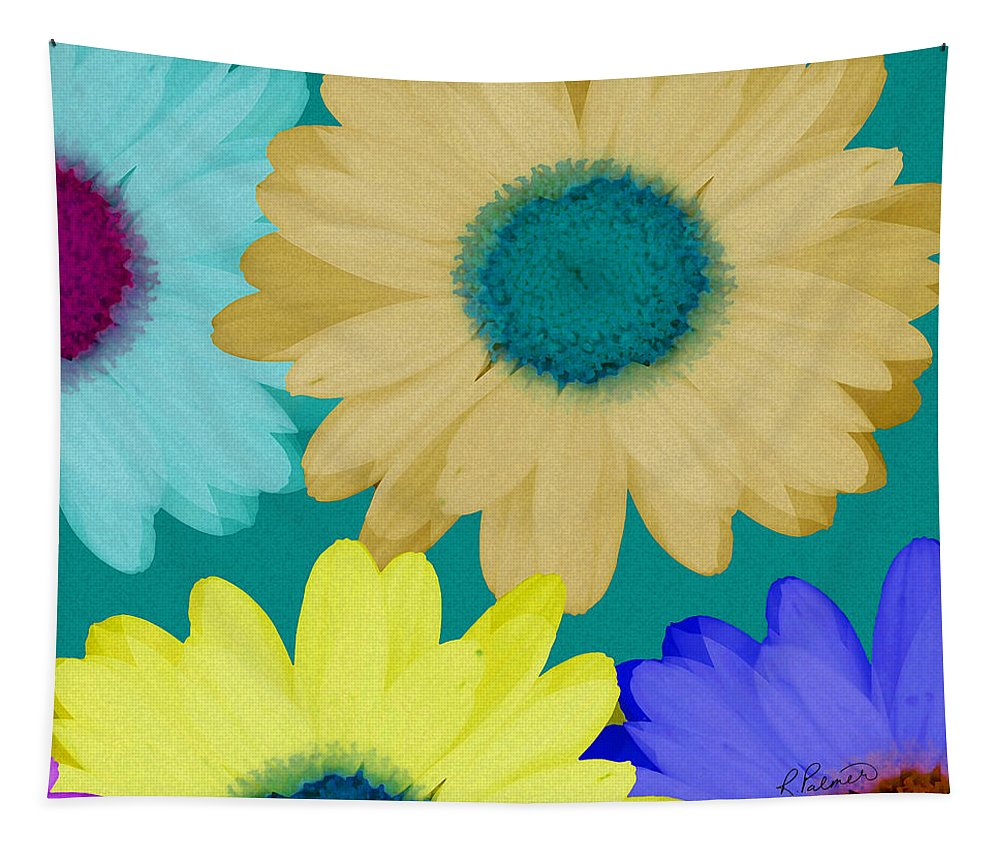 Daisy Tapestry featuring the mixed media Oversize Daisies by Ruth Palmer