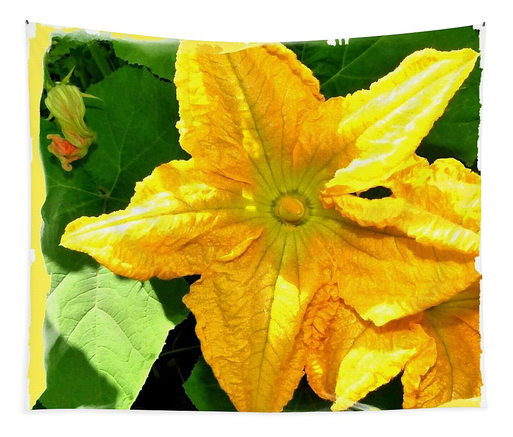 Squash Blossoms Tapestry featuring the digital art Painted Squash Blossoms by Will Borden