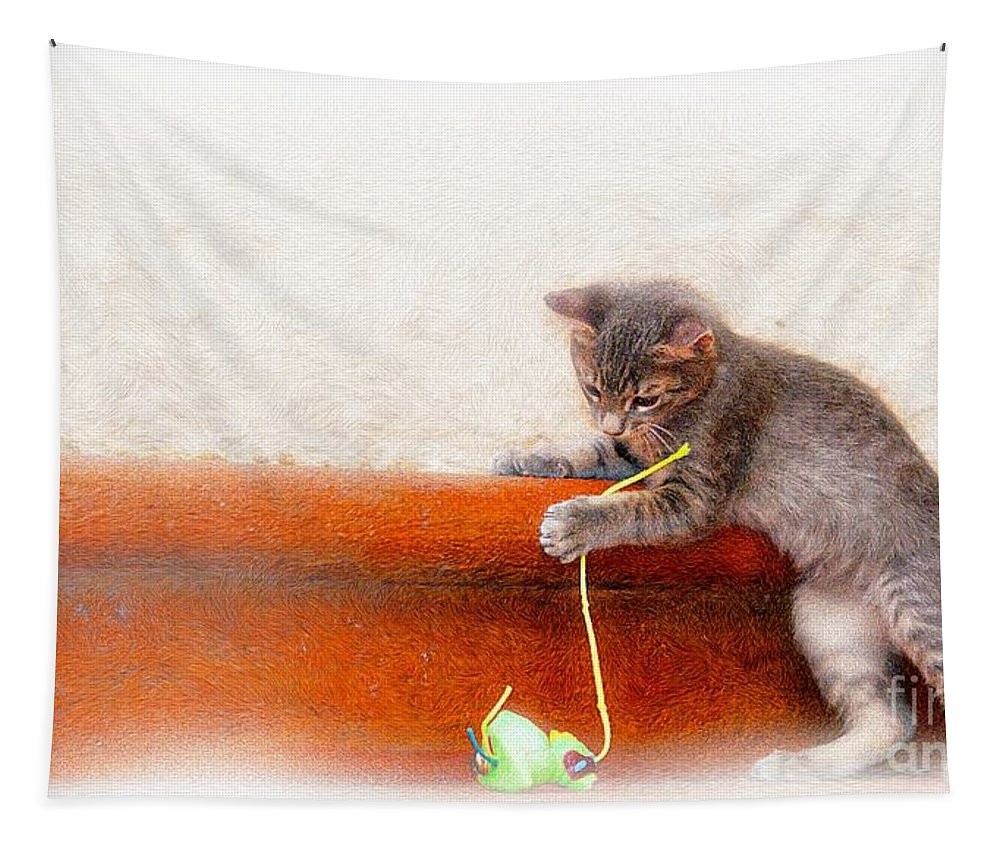 John+kolenberg Tapestry featuring the photograph Pancho With His Toy by John Kolenberg